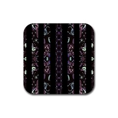 Oriental Floral Stripes Rubber Square Coaster (4 Pack)  by dflcprints