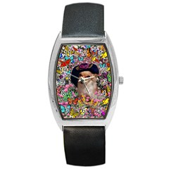 Chi Chi In Butterflies, Chihuahua Dog In Cute Hat Barrel Style Metal Watch by DianeClancy