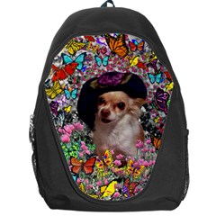 Chi Chi In Butterflies, Chihuahua Dog In Cute Hat Backpack Bag by DianeClancy