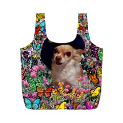 Chi Chi In Butterflies, Chihuahua Dog In Cute Hat Full Print Recycle Bags (m)  by DianeClancy