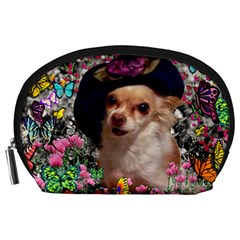 Chi Chi In Butterflies, Chihuahua Dog In Cute Hat Accessory Pouches (large)  by DianeClancy