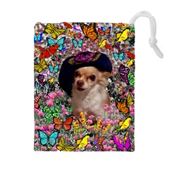 Chi Chi In Butterflies, Chihuahua Dog In Cute Hat Drawstring Pouches (extra Large) by DianeClancy