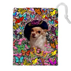 Chi Chi In Butterflies, Chihuahua Dog In Cute Hat Drawstring Pouches (xxl) by DianeClancy