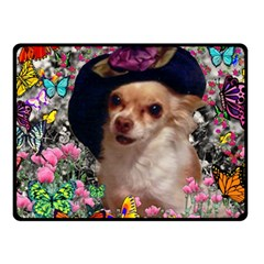 Chi Chi In Butterflies, Chihuahua Dog In Cute Hat Fleece Blanket (small) by DianeClancy