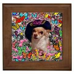 Chi Chi In Butterflies, Chihuahua Dog In Cute Hat Framed Tiles by DianeClancy