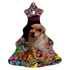 Chi Chi In Butterflies, Chihuahua Dog In Cute Hat Ornament (christmas Tree) by DianeClancy