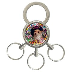Chi Chi In Butterflies, Chihuahua Dog In Cute Hat 3 Ring Key Chains by DianeClancy
