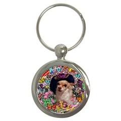 Chi Chi In Butterflies, Chihuahua Dog In Cute Hat Key Chains (round)  by DianeClancy