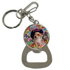 Chi Chi In Butterflies, Chihuahua Dog In Cute Hat Bottle Opener Key Chains by DianeClancy