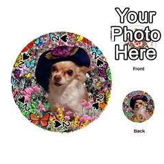 Chi Chi In Butterflies, Chihuahua Dog In Cute Hat Playing Cards 54 (round)  by DianeClancy