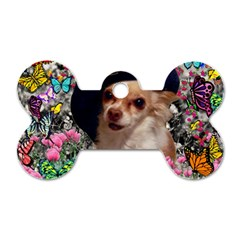 Chi Chi In Butterflies, Chihuahua Dog In Cute Hat Dog Tag Bone (two Sides) by DianeClancy