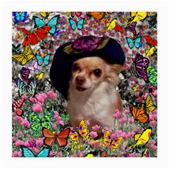 Chi Chi In Butterflies, Chihuahua Dog In Cute Hat Medium Glasses Cloth by DianeClancy