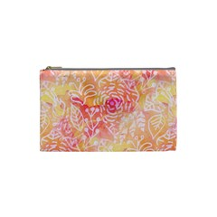 Sunny floral watercolor Cosmetic Bag (Small)  by KirstenStar
