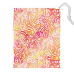 Sunny Floral Watercolor Drawstring Pouches (xxl) by KirstenStar