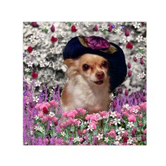 Chi Chi In Flowers, Chihuahua Puppy In Cute Hat Small Satin Scarf (square) by DianeClancy