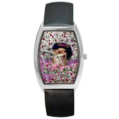 Chi Chi In Flowers, Chihuahua Puppy In Cute Hat Barrel Style Metal Watch by DianeClancy