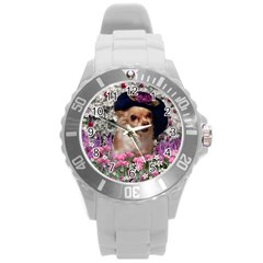Chi Chi In Flowers, Chihuahua Puppy In Cute Hat Round Plastic Sport Watch (l) by DianeClancy