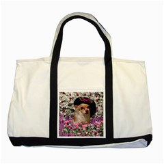 Chi Chi In Flowers, Chihuahua Puppy In Cute Hat Two Tone Tote Bag by DianeClancy