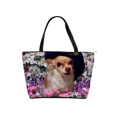 Chi Chi In Flowers, Chihuahua Puppy In Cute Hat Shoulder Handbags by DianeClancy