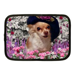Chi Chi In Flowers, Chihuahua Puppy In Cute Hat Netbook Case (medium)  by DianeClancy