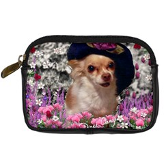 Chi Chi In Flowers, Chihuahua Puppy In Cute Hat Digital Camera Cases by DianeClancy