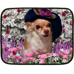 Chi Chi In Flowers, Chihuahua Puppy In Cute Hat Double Sided Fleece Blanket (mini)  by DianeClancy