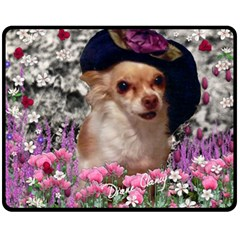 Chi Chi In Flowers, Chihuahua Puppy In Cute Hat Double Sided Fleece Blanket (medium)  by DianeClancy