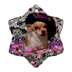 Chi Chi In Flowers, Chihuahua Puppy In Cute Hat Snowflake Ornament (2 Side) by DianeClancy