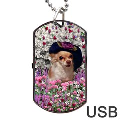 Chi Chi In Flowers, Chihuahua Puppy In Cute Hat Dog Tag Usb Flash (two Sides)  by DianeClancy