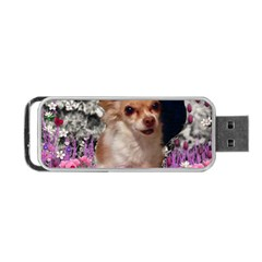 Chi Chi In Flowers, Chihuahua Puppy In Cute Hat Portable Usb Flash (one Side) by DianeClancy