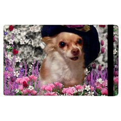 Chi Chi In Flowers, Chihuahua Puppy In Cute Hat Apple Ipad 3/4 Flip Case by DianeClancy