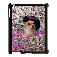 Chi Chi In Flowers, Chihuahua Puppy In Cute Hat Apple Ipad 3/4 Case (black) by DianeClancy