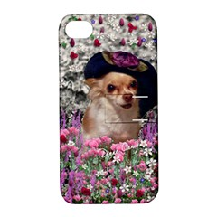 Chi Chi In Flowers, Chihuahua Puppy In Cute Hat Apple iPhone 4/4S Hardshell Case with Stand by DianeClancy