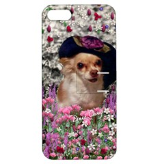 Chi Chi In Flowers, Chihuahua Puppy In Cute Hat Apple Iphone 5 Hardshell Case With Stand by DianeClancy