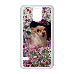 Chi Chi In Flowers, Chihuahua Puppy In Cute Hat Samsung Galaxy S5 Case (white) by DianeClancy