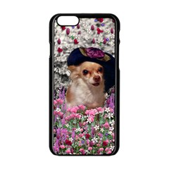 Chi Chi In Flowers, Chihuahua Puppy In Cute Hat Apple Iphone 6/6s Black Enamel Case by DianeClancy