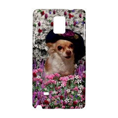 Chi Chi In Flowers, Chihuahua Puppy In Cute Hat Samsung Galaxy Note 4 Hardshell Case by DianeClancy