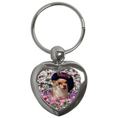 Chi Chi In Flowers, Chihuahua Puppy In Cute Hat Key Chains (heart)  by DianeClancy