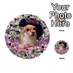 Chi Chi In Flowers, Chihuahua Puppy In Cute Hat Playing Cards 54 (round)  by DianeClancy