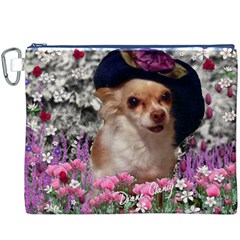 Chi Chi In Flowers, Chihuahua Puppy In Cute Hat Canvas Cosmetic Bag (xxxl) by DianeClancy