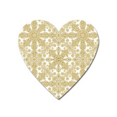 Golden Floral Boho Chic Heart Magnet by dflcprints