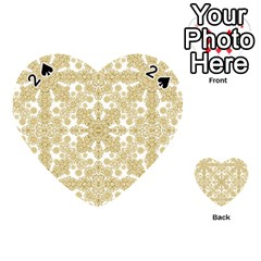 Golden Floral Boho Chic Playing Cards 54 (heart)  by dflcprints