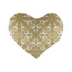 Golden Floral Boho Chic Standard 16  Premium Flano Heart Shape Cushions by dflcprints