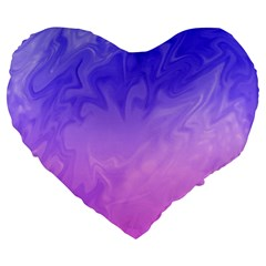 Ombre Purple Pink Large 19  Premium Heart Shape Cushions by BrightVibesDesign