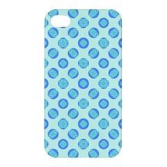 Pastel Turquoise Blue Retro Circles Apple Iphone 4/4s Hardshell Case by BrightVibesDesign