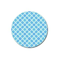 Pastel Turquoise Blue Retro Circles Rubber Coaster (Round)  by BrightVibesDesign