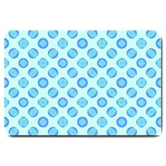 Pastel Turquoise Blue Retro Circles Large Doormat  by BrightVibesDesign