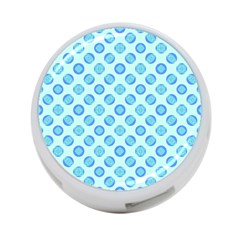 Pastel Turquoise Blue Retro Circles 4 Port Usb Hub (one Side) by BrightVibesDesign