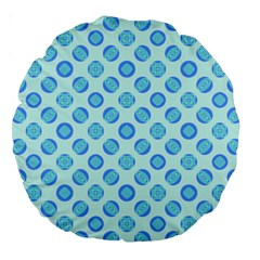 Pastel Turquoise Blue Retro Circles Large 18  Premium Round Cushions by BrightVibesDesign