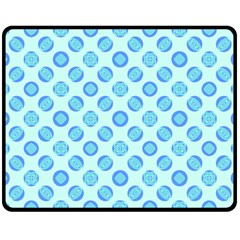 Pastel Turquoise Blue Retro Circles Double Sided Fleece Blanket (medium)  by BrightVibesDesign